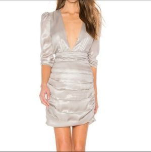 SAYLOR Madonna Silver Ruched Dress Size XSmall